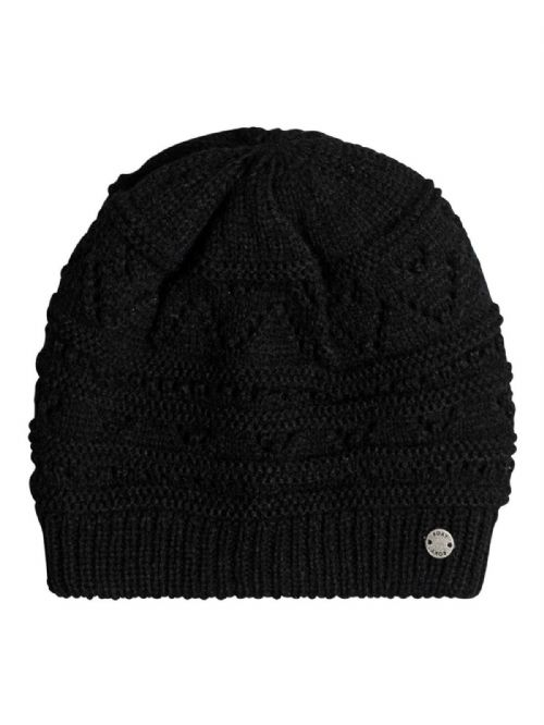 ROXY WOMENS HAT.GIRL CHALLENGE BLACK KNITTED SKULLIE FITTED BEANIE 7W 308 KVJO